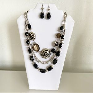 Triple-Strand Necklace & Earring Set Silver Black